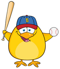 Baseball Yellow Chick Swinging A Baseball Bat And Ball