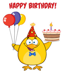 Happy Birthday With Chick Holding Up A Colorful Balloons