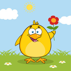 Happy Yellow Chick Character With A Red Daisy Flower