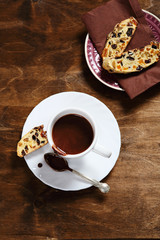 Sweet hot chocolate biscotti on the plate