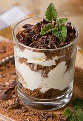 Tiramisu cake with fresh mint.