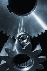 large titanium cogwheels and ball-bearings