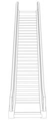Sketch of escalator. Front view. Vector illustration