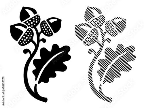 Oak leaf with acorns - 80438270