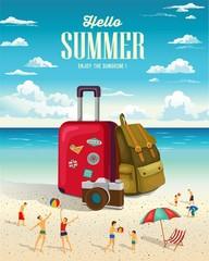 Summertime travelling vector background.
