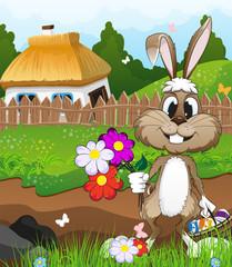 Easter bunny near a farmhouse