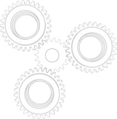 Sketch of four wire-frame gears. Front view. Vector illustration