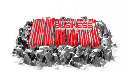 3d barcode model with busines word in it on low poly surface