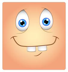 Funny Cartoon Dumb Face Box Smiley