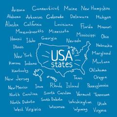 Handwritten USA states vector illustration