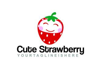 Cute Strawberry - Mascot Logo