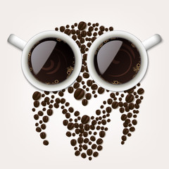 Two cups of coffee with coffee beans forming an owl symbol