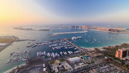 Dubai Marina wide angle Panorama evening time at sunset
