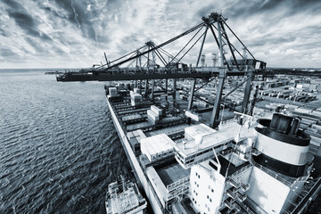 container port and ship, elevated view from crane