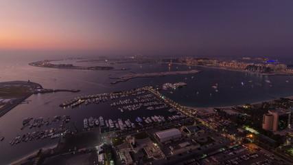 Dubai Marina wide angle Panorama from day to night transition