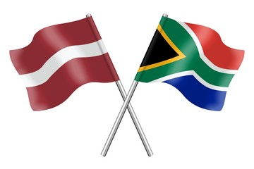 Flags: Latvia and South Africa