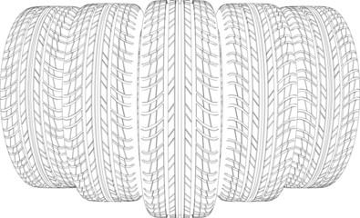 Five wire-frame tires. Vector illustration