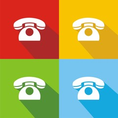 Icono teléfono clásico colores sombra