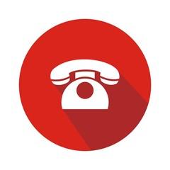 Icono teléfono clásico rojo botón sombra