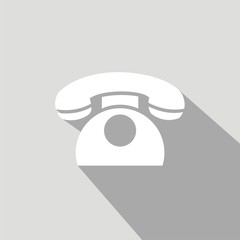 Icono teléfono clásico gris sombra