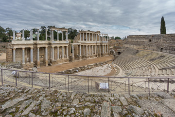 The Roman Theatre in Merida, Spain. Side View