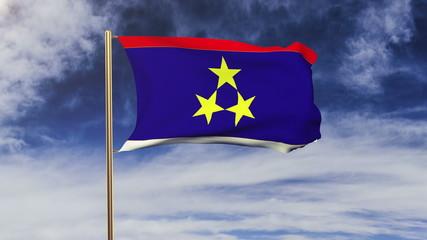 Vojvodina flag waving in the wind. Green screen, alpha matte