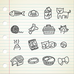 set of cat related icon in doodle style