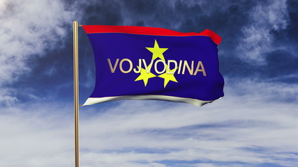 Vojvodina flag with title waving in the wind. Looping sun rises