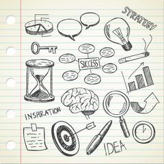 set of sketchy business doodle