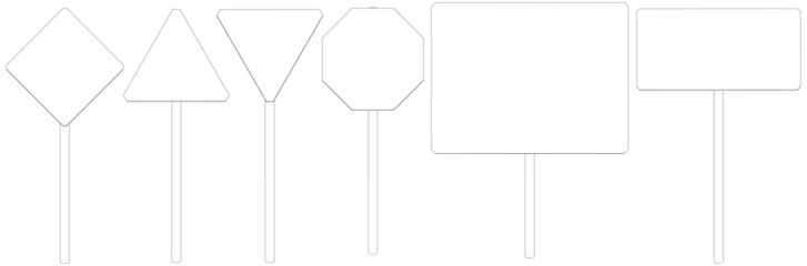 Set of wire-frame road signs. Front view. Vector illustration