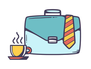 Vector illustration of blue business case with cup of coffee and