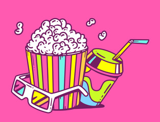 Vector linear illustration of pop corn with juice and anaglyph g