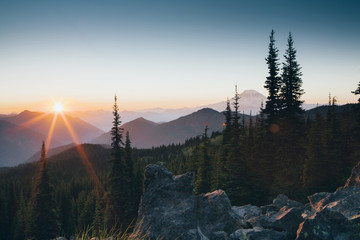 Sunset over the Cascade Range of mountains at Goat Rocks Wlderness.
