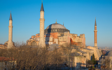 Hagia Sophia cathedral at sunset, side view