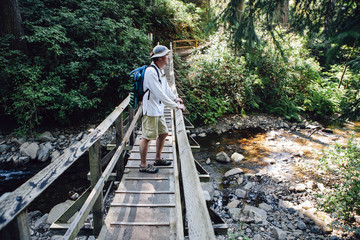 Man walking across small foot bridge in lush temperate rainforest, Oswald West SP OR