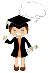 Cartoon girl in cap and gown graduate with speech bubble