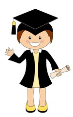 Cartoon girl in cap and gown graduate holding a scroll diploma