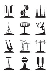 Various antennas and locators - vector illustration