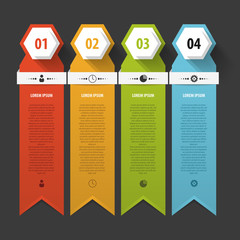 Colorful banners template for step presentation. Vector