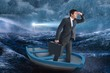 Composite image of businessman in boat - 80446071