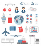 flat airport infographic elements and icons vector