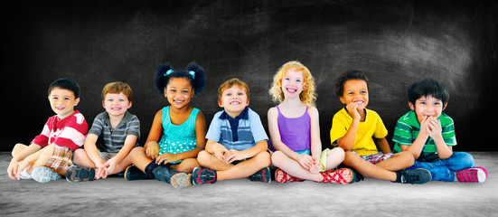 Kids Children Diversity Happiness Group Education Concept