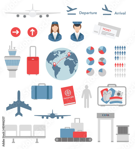 flat airport infographic elements and icons vector - 80446207