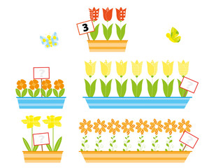 mathematical flowers - vectors for children