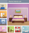 Home interiors vector set - 80447258