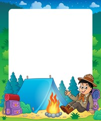 Summer frame with scout boy theme 1