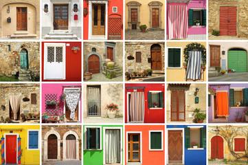 colorful old doors wallpaper