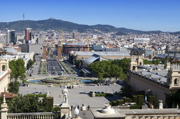 Spain. Barcelona. The top view on a city