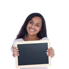 Smiling Asian Indian Woman Holding Empty Board