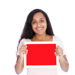 Smiling Woman Holding Empty Small Red Board